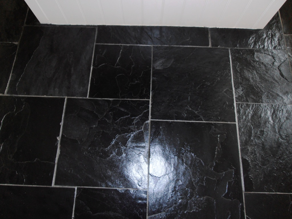 Stone cleaning and polishing tips for slate floors information black slate after cleaning and sealing dailygadgetfo Images