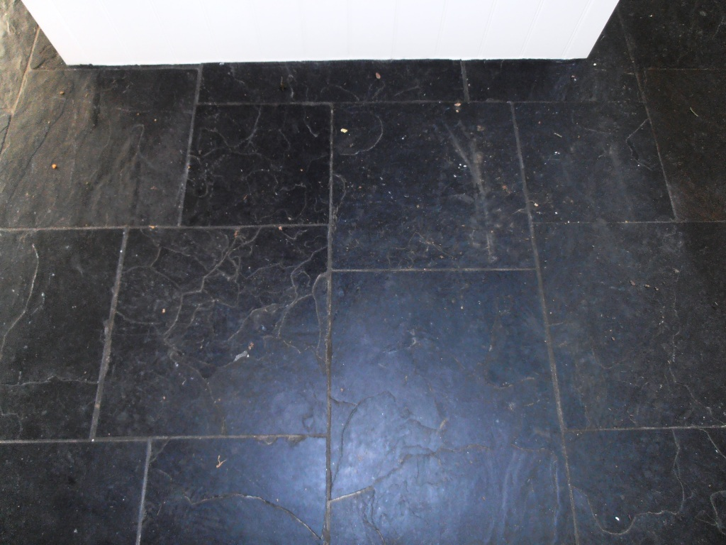 Stone cleaning and polishing tips for slate floors information black slate before cleaning and sealing dailygadgetfo Gallery