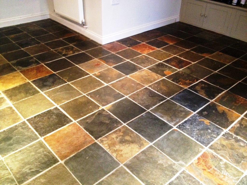 Refreshing A Very Dirty Slate Tiled Floor   Stone Cleaning and ...